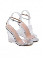 Transparent Clear Heel Peep Toe Wedges