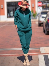 Casual Solid Sweatshirt Sets For Women