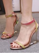 Shinny Rhinestone Clear Wedge Heel Sandals