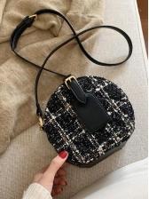 Trendy Woolen Patchwork Pu Round Shoulder Bags