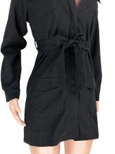 Work Style Slim Waist Long Sleeve Short Dress