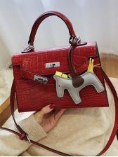 Crocodile Print Cartoon Pendant Shoulder Bags With Handle
