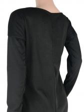 Incline Shoulder Solid Irregular Hem Long Blouse
