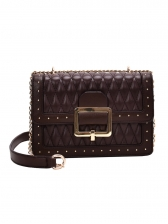 Solid Color Pu Threads Rhombus Chain Shoulder Bag