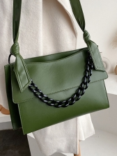 Bow Belt Solid Color Thick Chain Large Shoulder Bags