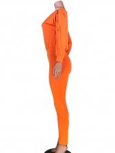 Solid Zipper Sleeve Off the Shoulder Jumpsuit