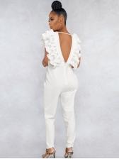 Deep V Stringy Selvedge Sleeve Backless White Jumpsuit