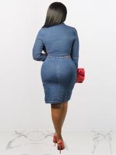Denim Zipper Split Crop Top Skirt Set