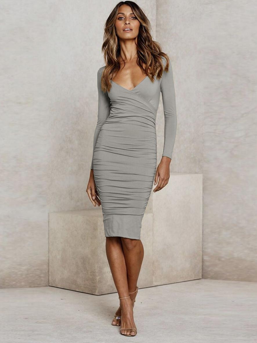 Slim Fit v Neck Long Sleeve Dress