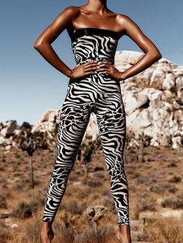 Sexy Zebra Printed Strapless Jumpsuit