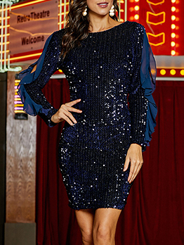Sequin Ruffled Chiffon Patchwork Long Sleeve Cocktail Dresses