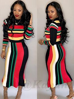 Color Striped Bodycon Long Sleeve Midi Dress