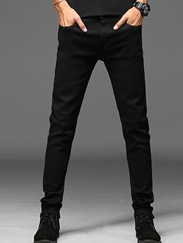Minimalist Mid Waist Skinny All Black Jeans
