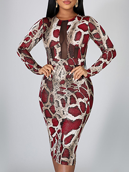 Gauze Patchwork Snake Skin Printed Bodycon Dress