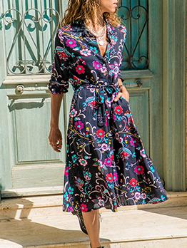 Chiffon Printed Lace Up Shirt Dress