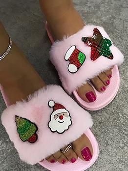 Christmas Sequin Element Print Fur Slippers For Women