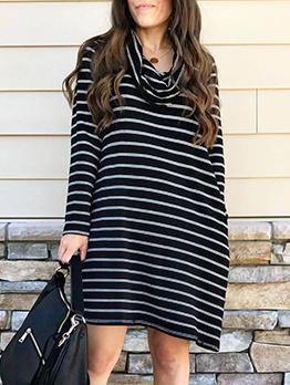 Casual Loose Striped Ladies Long Sleeve Dress