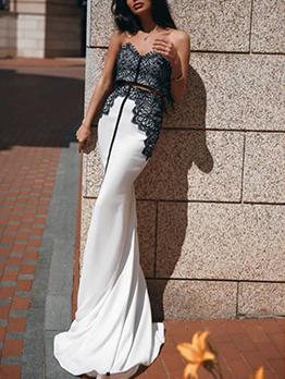 Mermaid Patchwork Off The Shoulder Evening Dress