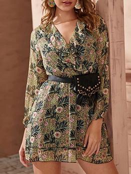 Botanical Printed Empire Waist Long Sleeve Dress
