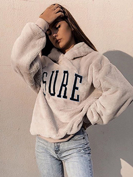 Winter Embroidered Letter Loose Fur Hoodie