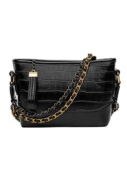 Plaid Letter Belt Chain Crossbody Shoulder Bag