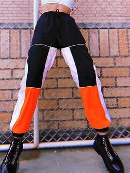 Casual Color Block Drawstring Track Pants