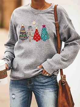 Christmas Tree Print Crewneck Sweatshirt