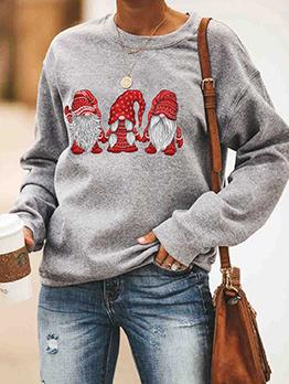 Christmas Cute Santa Claus Print Crewneck Sweatshirt
