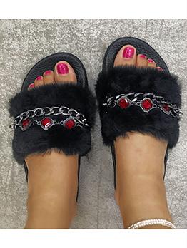 Rhinestone Decor Black Fur Slippers For Women
