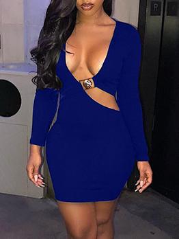 Deep V Neck Solid Color Long Sleeve Bodycon Dress