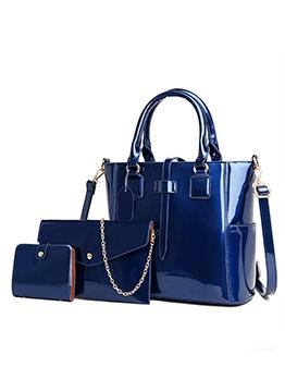 Patent Leather Solid Handbag sets