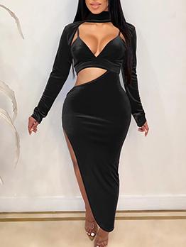 Deep V Neck Irregular Split Hem Solid Maxi Dresses
