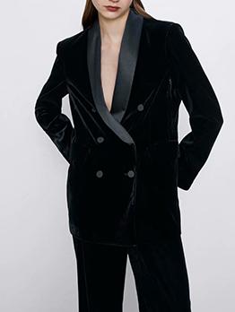 Shawl Collar Double-Breasted Velvet Blazer