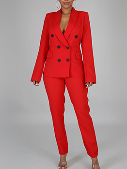 Shawl Collar Double Breasted Suits For Women