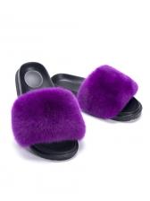 Fashion Leopard Print Cony Hair Fur Slippers