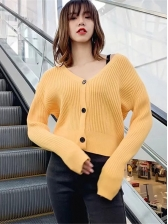 Single-Breasted Solid V Neck Cardigan Sweater