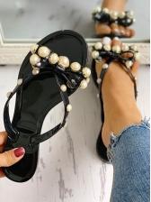 Faux Pearl Decor Solid Antiskidding Flip Flops