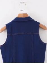 Turndown Neck Single-Breasted Fitted Sleeveless Denim Jumpsuit