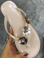 Sequin Stereo Flower Decor Solid Flip Flops