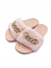 Autumn Chain Decor Antiskidding Warm Fur Slipper