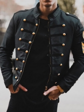 Trendy Stand Collar Button Decor Black Winter Jacket