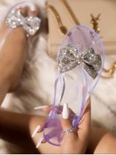 Glitter Bow Decor Solid Flip Flops For Women