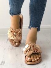 Versatile Sequin Stereo Flower Slip On Slippers