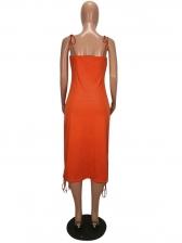 Backless Drawstring Sleeveless Midi Dress
