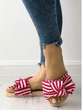 Striped Bow Decor Straw Slip On Slippers For Women