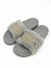 Fashion Chain Decor Slip On Womens Fur Slippers