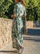 Botanical Printed Chiffon Casual Maxi Dresses