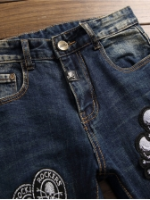 Chic Appliques Mid Waist Fitted Distressed Jeans