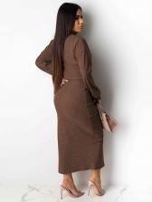 Mock Neck Solid Split Crop Top And Skirt Set