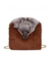 Plush Contrast Color Small Shoulder Bag